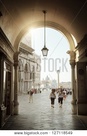 early morning, San Marco square in Venice, Italy