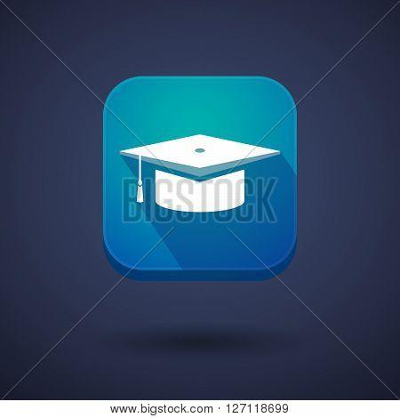 Square Long Shadow App Button With A Graduation Cap
