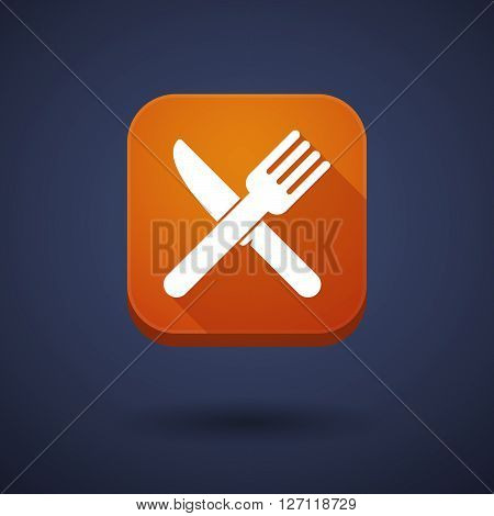 Square Long Shadow App Button With A Knife And A Fork