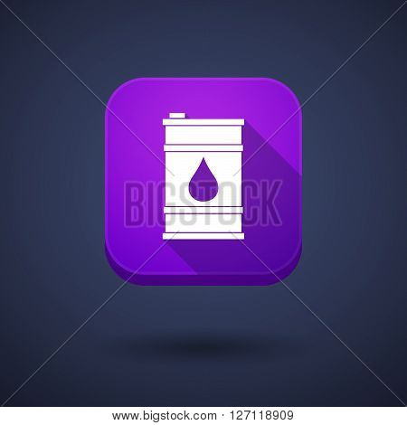 Square Long Shadow App Button With A Barrel Of Oil