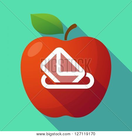 Long Shadow Red Apple With  A Ballot Box