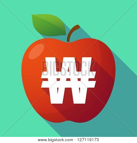 Long Shadow Red Apple With A Won Currency Sign