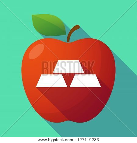 Long Shadow Red Apple With Three Gold Bullions