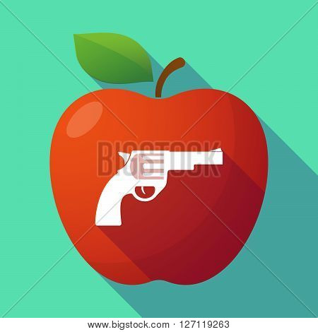 Long Shadow Red Apple With A Gun