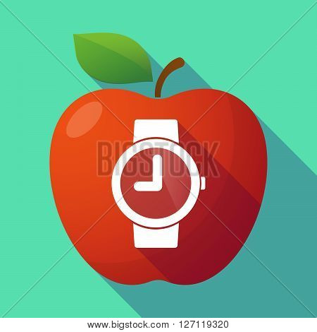 Long Shadow Red Apple With A Wrist Watch
