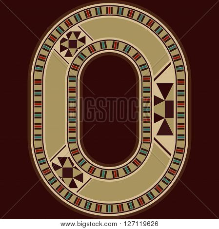 Oriental Wooden Mosaic Decorated Capital Letter O