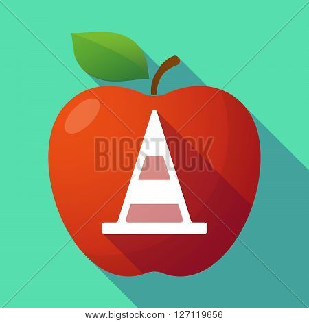 Long Shadow Red Apple With A Road Cone