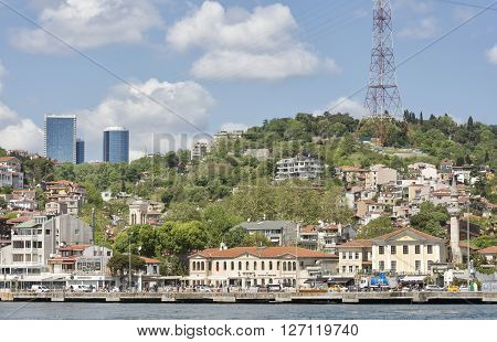 ISTANBUL,TURKEY, APRIL 21, 2016: Coastline of Arnavutkoy, a historic neighbourhood in Istanbul, Turkey, famous for its wooden Ottoman mansions and seafood restaurants.