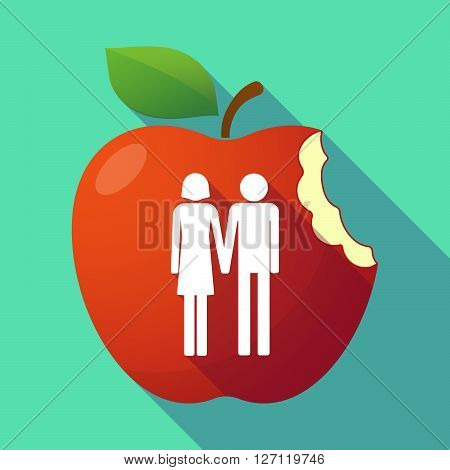 Long Shadow Red Apple With A Heterosexual Couple Pictogram