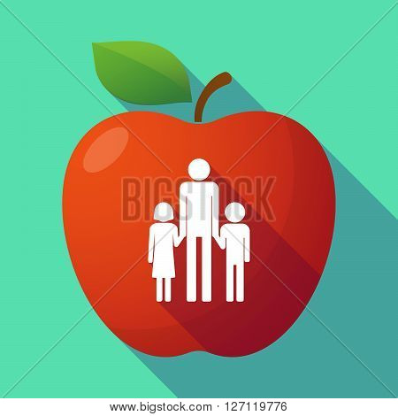 Long Shadow Red Apple With A Male Single Parent Family Pictogram