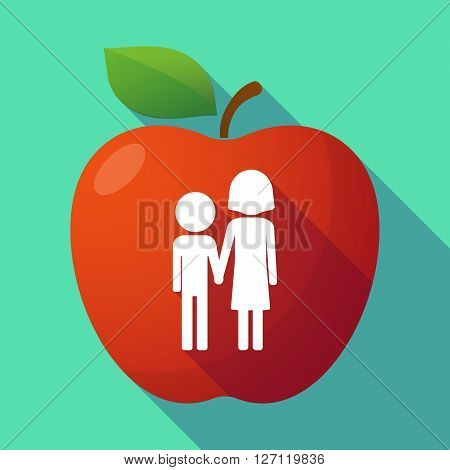 Long Shadow Red Apple With A Childhood Pictogram