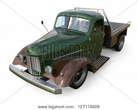 Old restored pickup 3D Rendering. Pick-up in the style of hot rod. 3d illustration