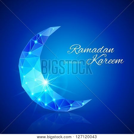 Ornate crescent Moon with bright flare and radiance in brilliant blue shades. Greeting card of holy Muslim month Ramadan