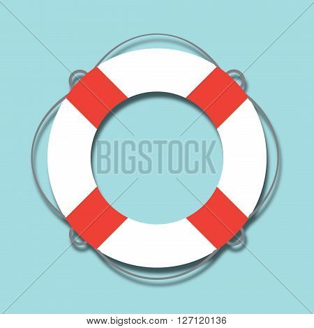 White lifebuoy with red stripes. Isolated Vector Illustration