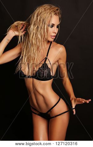 Gorgeous Sexy Woman With Blond Hair Wears Luxurious Lace Black Lingerie