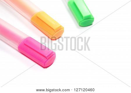Closed up Multicolored Highlighter marker or highligh pen