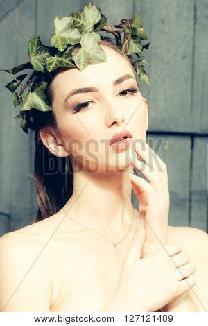 Sensual Girl In Vine Crown