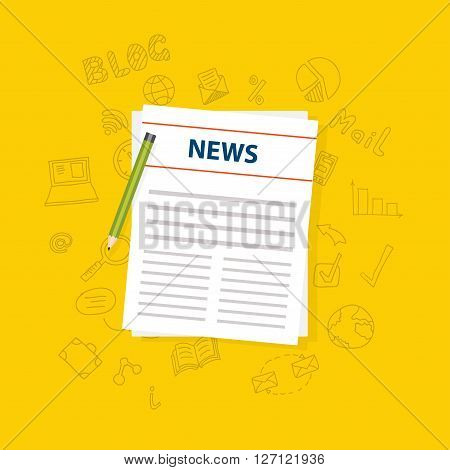 Newspaper icon with shadow on a yellow background. Vector illustration.