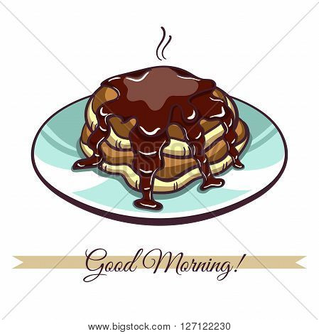 Hand drawn pancakes with chocolate on a plate. Pancakes in cartoon style isolated on white background. Vector illustration.