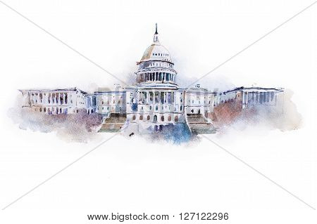 watercolor drawing of the white house in Washington dc.