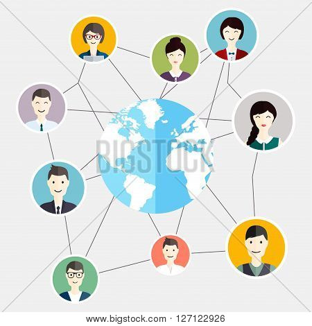 Social Media Circles Global People Communication. Business Flat Vector Illustration.