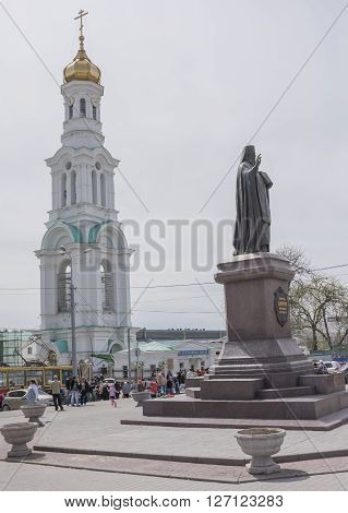 ROSTOV-ON-DON RUSSIA- APRIL 24 -On Palm Sunday people are recruited into the church to the priest could consecrate sprigs.Cathedral of the Nativity of the Blessed Virgin Mary on April 242016 in Rostov-on-Don