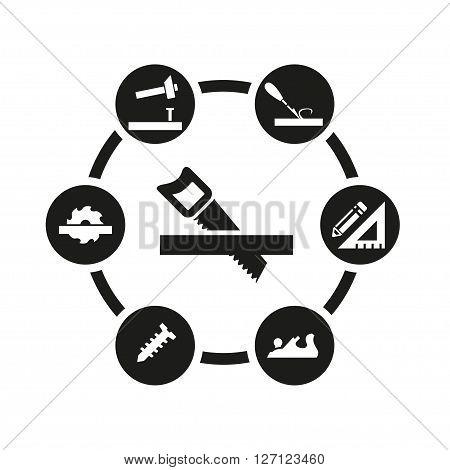 Vector black carpentry icon set on white background
