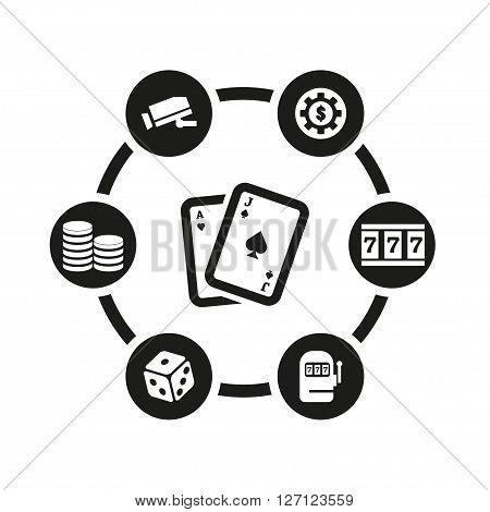 Vector black casino icon set on white background