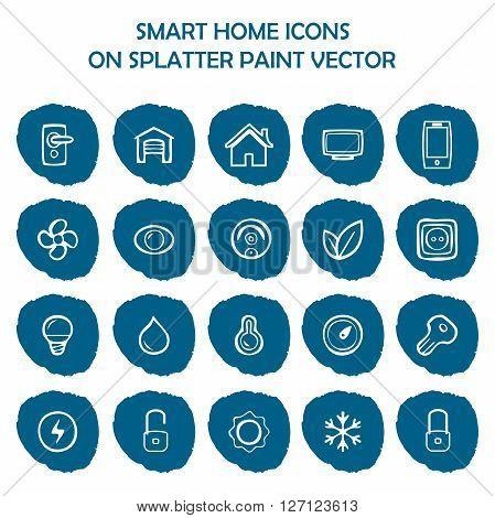 Smart home icons on blue splatter paint. Flat icons on round paint stains background. Icons symbol logo