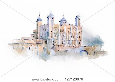 tower of London watercolor drawing, London, UK. English sightseeing aquarelle painting.
