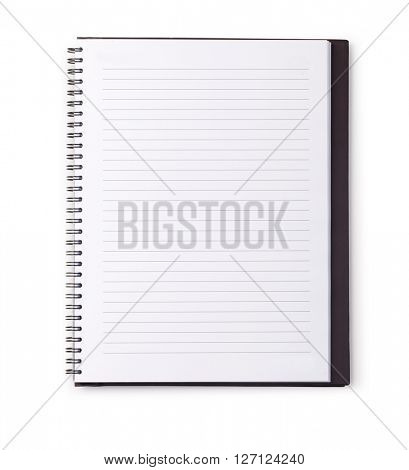 Open Blank Page notebook on white background