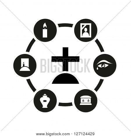 Vector black funeral icon set on white background