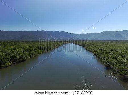 Aerial view of remote lake in Sao Sebastiao, Brazil