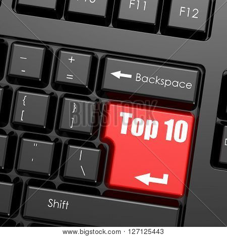 Red enter button on computer keyboard Top 10 word. Business concept, 3d rendering
