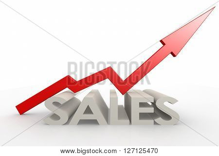 Red upward arrow with sales word image, 3d rendering