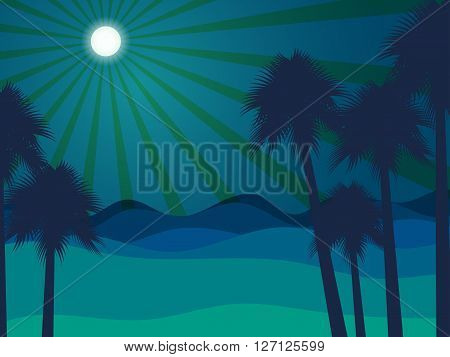 Night In The Desert. Desert Landscape. Vector Illustration.