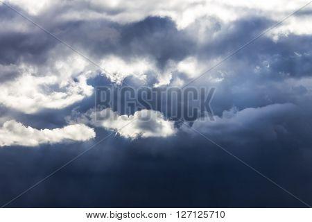 Dark gloomy stormy sky and clouds. Background