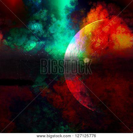 galaxy horizon painting, amazng mix between moon and rising sun on horizon painting,