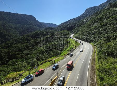 Aerial View of Highway in the Litoral Norte of Sao Paulo, Brazil