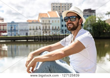Young tourist enjoying a beautiful day in Recife, Brazil