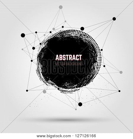 Abstract grunge vector background. Grunge hand drawn stain on abstract background. Connecting lines and dots. Design element in vector.
