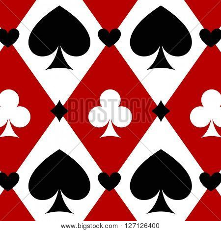 Casino gambling poker background with red, black, white cards symbols. Seamless pattern is in the swatches palette. Casino gambling games background