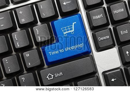 Conceptual Keyboard - Time To Shopping (blue Key)