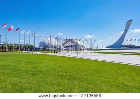 Sochi Russia May 11 2015: View of objects of Olympic park - place of Winter Olympic games 2014.