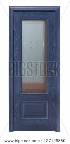Modern blue room door isolated on white background