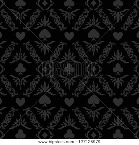 Black seamless casino gambling poker background or damask pattern and cards symbols. Seamless pattern is in the swatches palette. Casino gambling background vector illustration