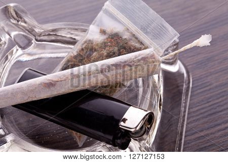 Close Up Of Marijuana And Smoking Paraphernalia