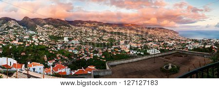 panoramic view of Funchal at sunset from Barcelos viewpoint Madeira Portugal