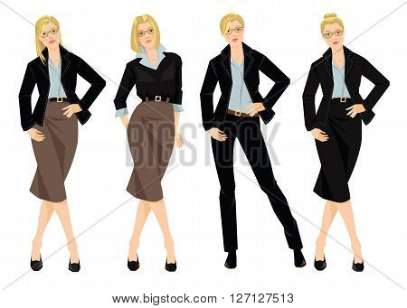 Vector illustration of blonde young woman in black formal suit isolated on white background. Woman in glasses. Different hairstyle