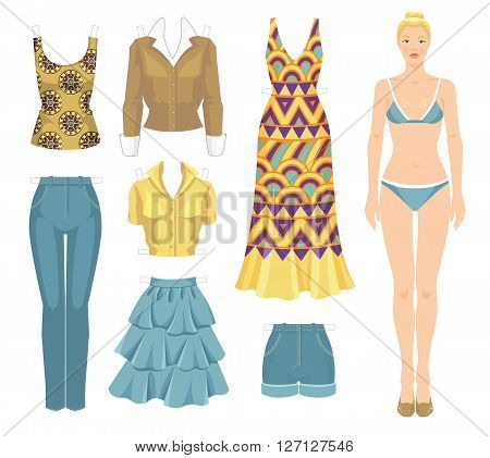 Paper doll with clothes. Body template. Set of template paper clothes. Clothes for summer holiday. Blonde girl in maxi dress with ethnic abstract pattern.